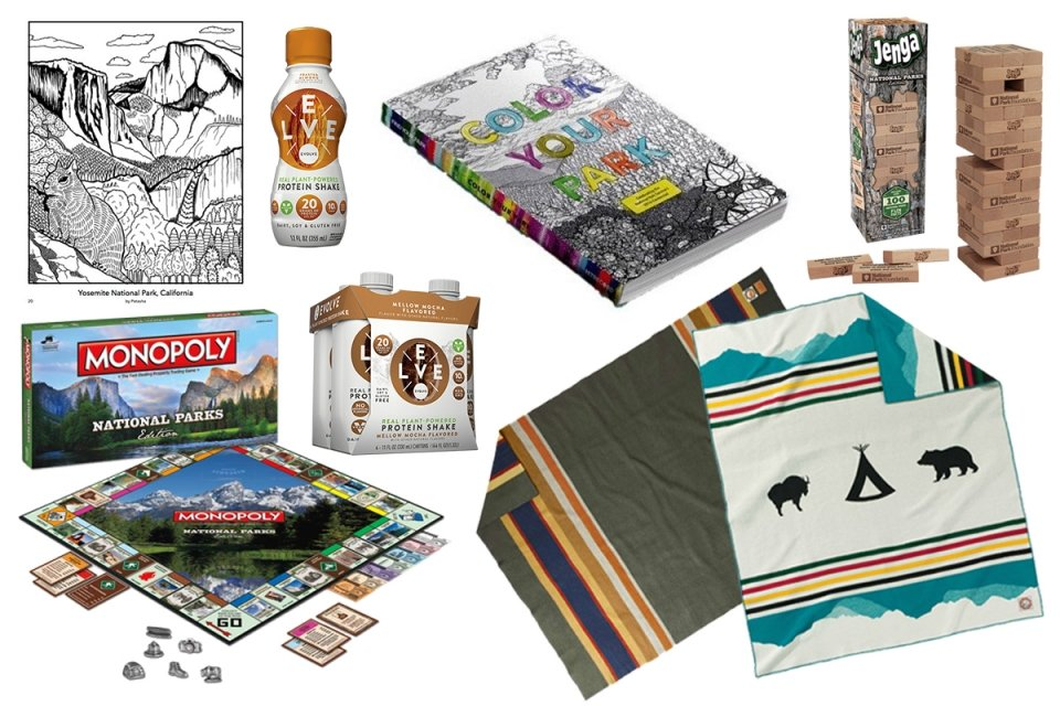 collage of snacks and games for the National Park Foundation gift guide