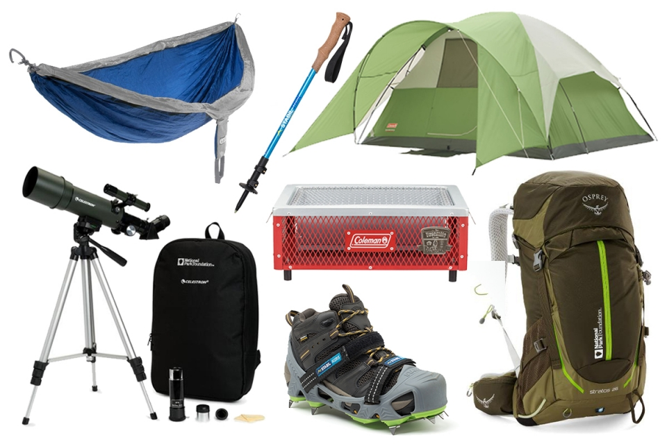 collage of camping and hiking gear for the National Park Foundation gift guide
