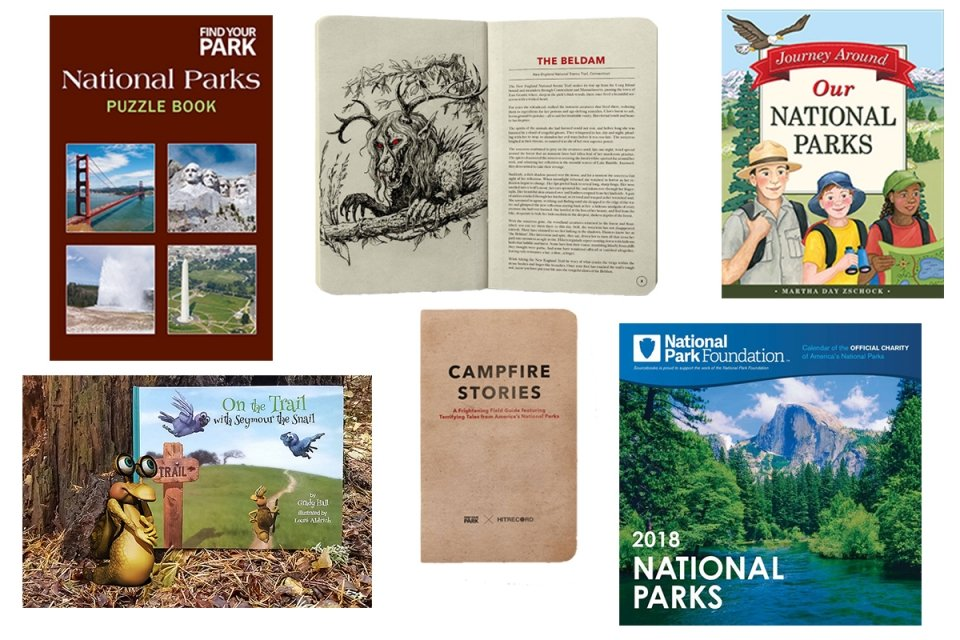 collage of books and calendars for the National Park Foundation gift guide