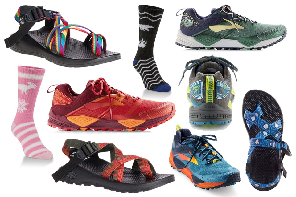 collage of socks and shoes for the National Park Foundation gift guide