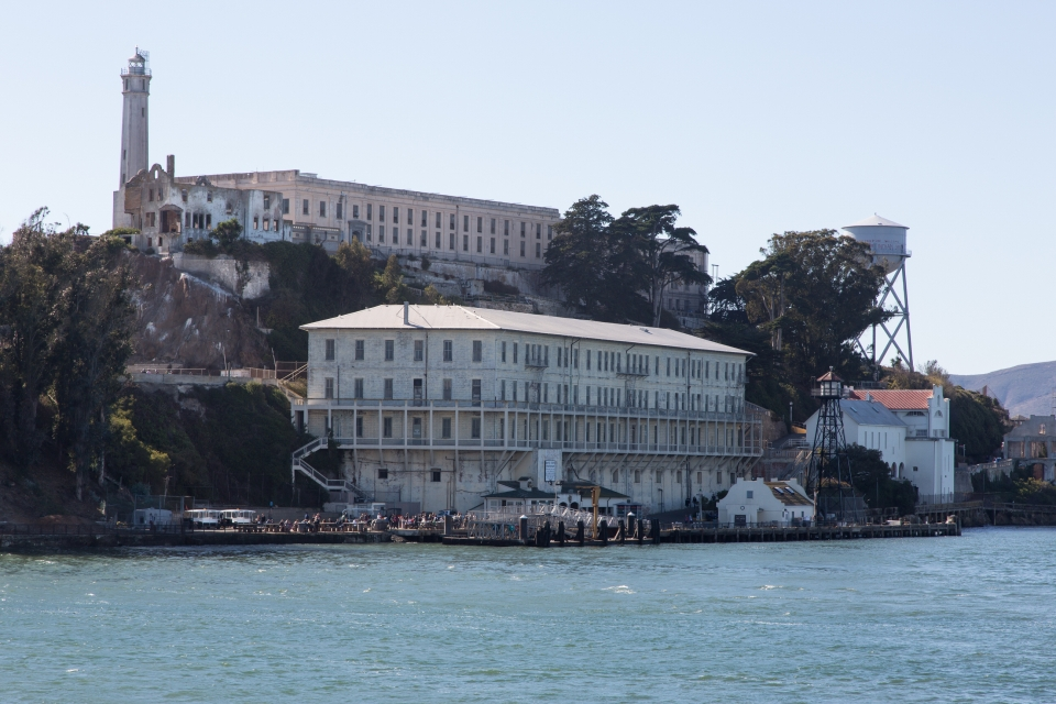 A view of Alcatraz Guardhouse from the bay