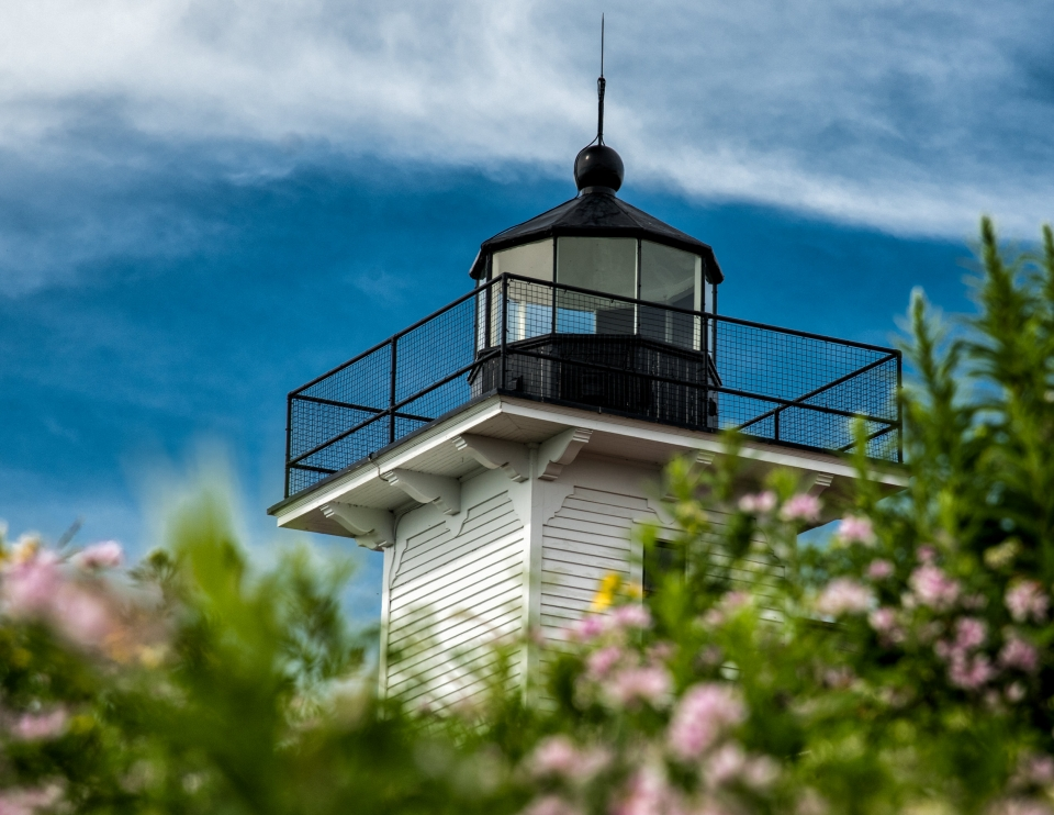 Top of a black and white lighthouse with out of focus flowers in the foreground at Apostle Islands National Lakeshore