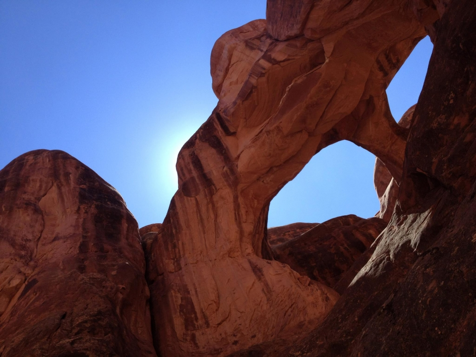 Double arches in the Fiery Furnace at Arches National Park