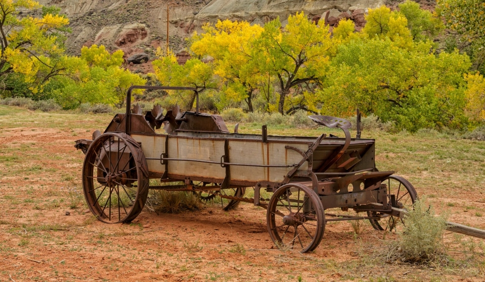 An old fruit wagon in the apple orchards of Capitol Reef National Park