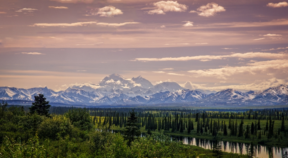 View of mountains and lake at Denali National Park & Preserve