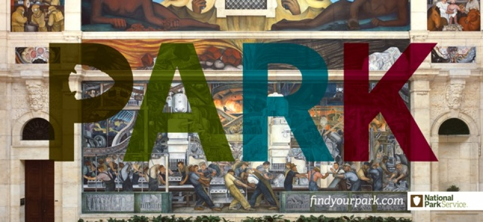 """Artist Diego Rivera's Detroit Industry Murals from 1931, pictured in it's Detroit Institute of Arts location, Text overlaying image reads, """"PARK, findyourpark.com, National Park Service"""""""
