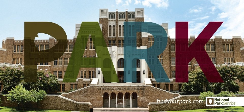 "The word ""park"" appears over Little Rock Central High School National Historic Site"