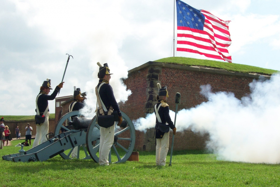 Cannon firing demonstration at Fort McHenry National Monument and Historic Shrine