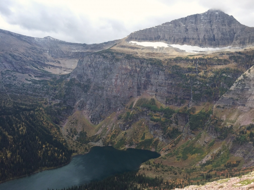 Epic view of lake and towering mountains at the Triple Divide Peak at Glacier National Park