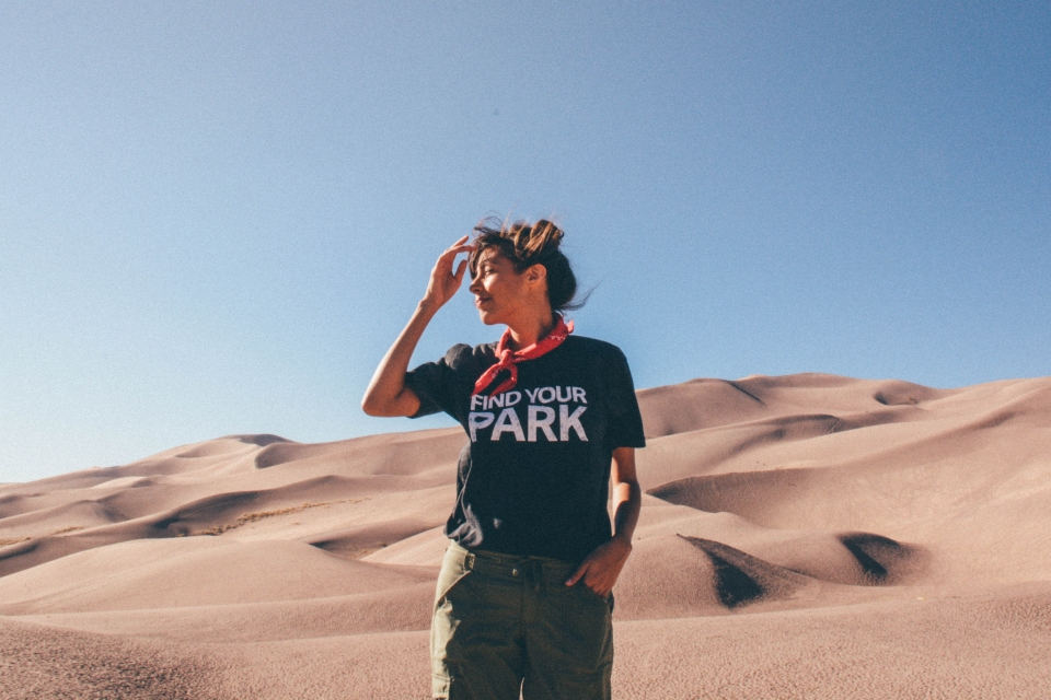 Grace in Find Your Park shirt at Great Sand Dunes National Park and Preserve