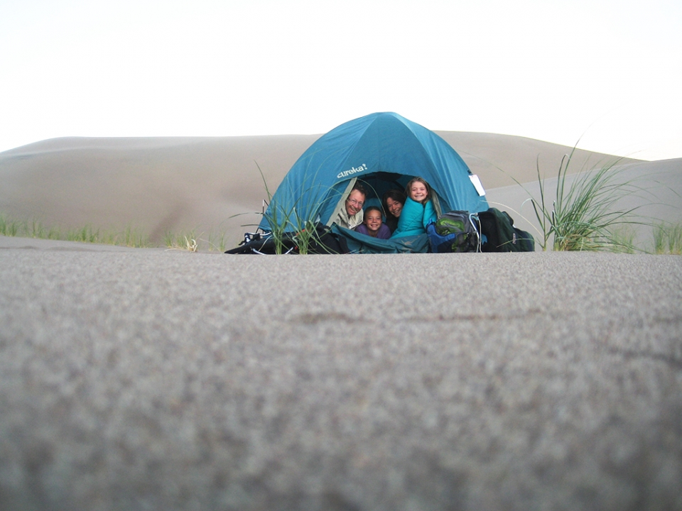 Family in a tent at Great Sand Dunes National Park