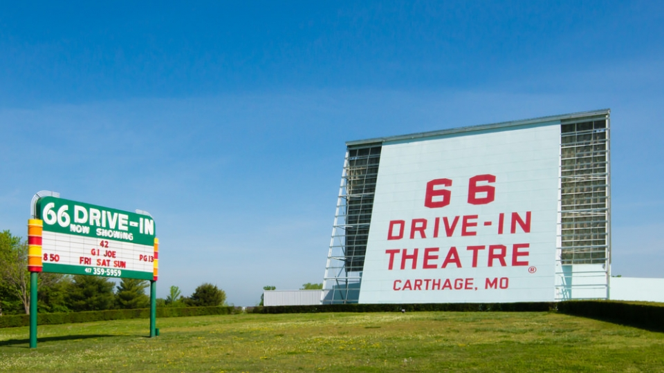 Drive-in theater sign along Route 66