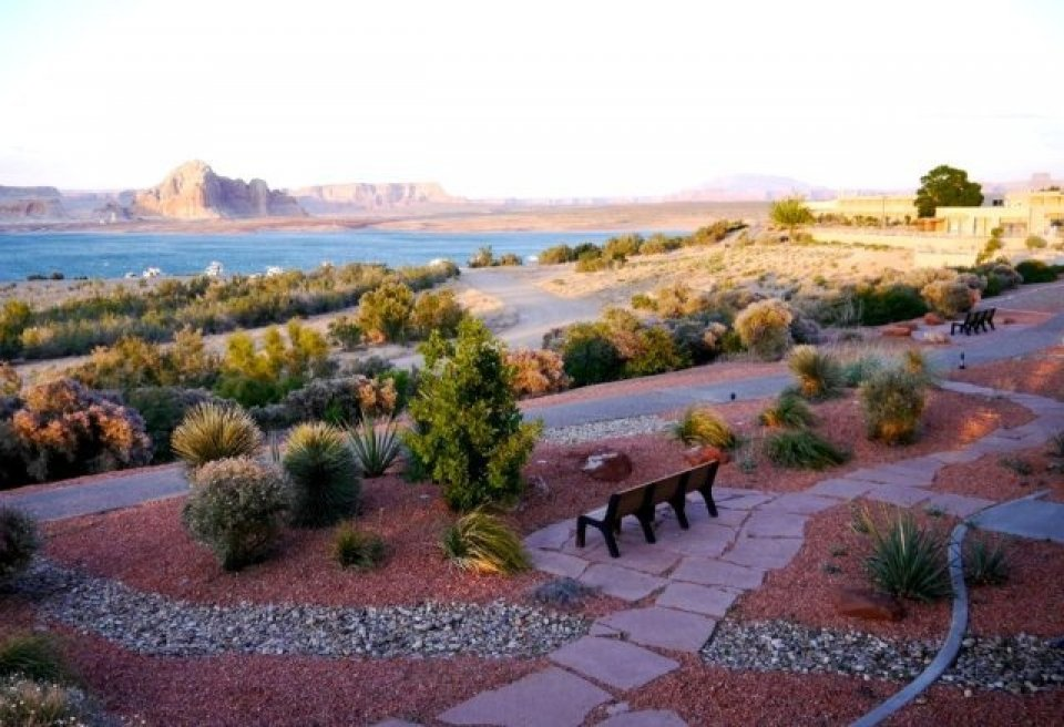 Bench overlooking lake at Lake Powell Resort