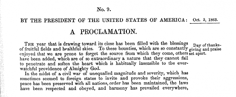 Image of Lincoln's Thanksgiving Proclamation from October 3, 1863