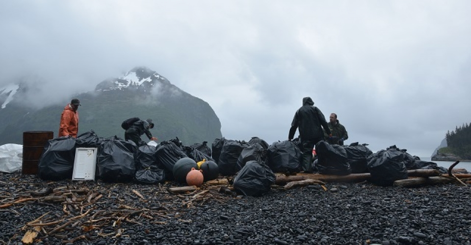Volunteer team helps clean marine debris off Alaskan shore