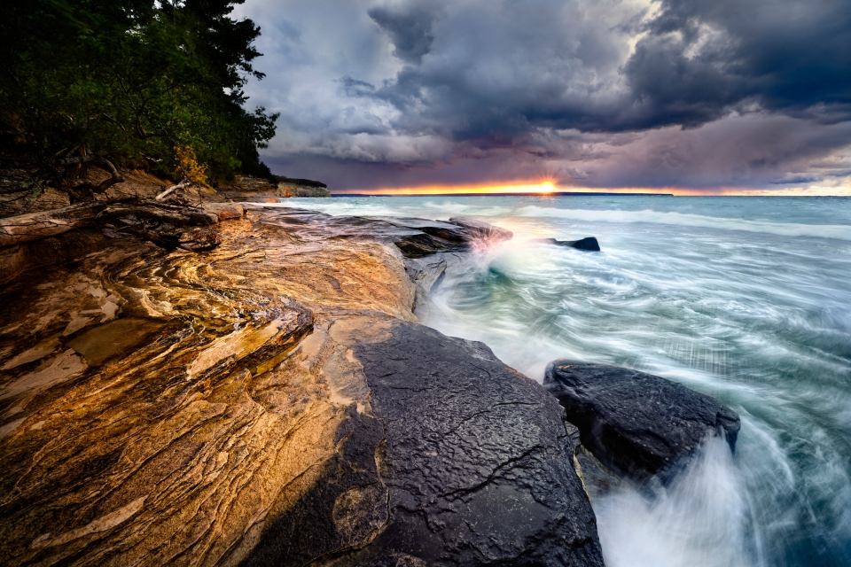 Stormy sunset from the Mosquito Beach Area at Pictured Rocks National Lakeshore