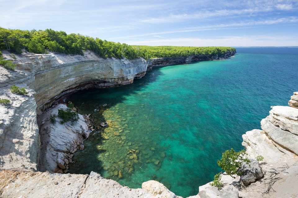View of Lake Superior from a cliff at Pictured Rocks National Lakeshore