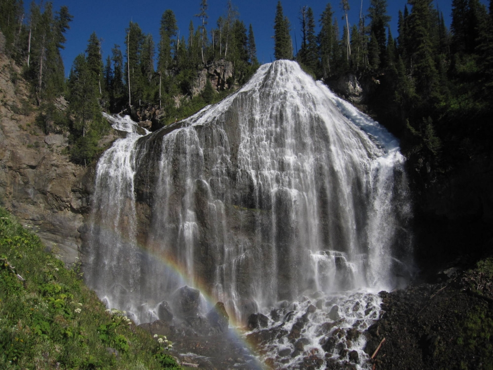 Huge waterfall at the south entrance of Yellowstone National Park