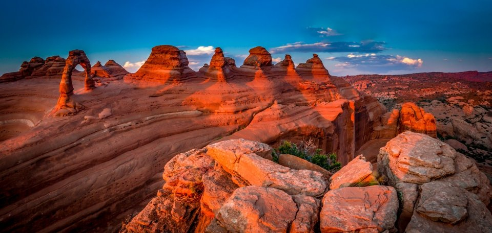 View of scenery near Delicate Arch in Arches National Park.