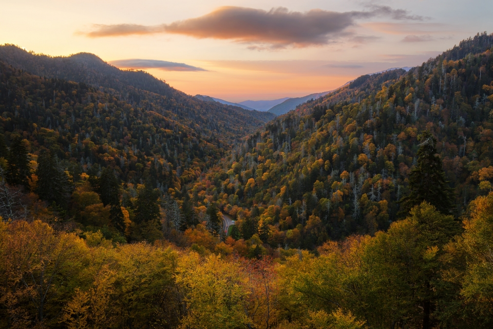 View of Blue Ridge Mountains in Great Smoky Mountains National Park