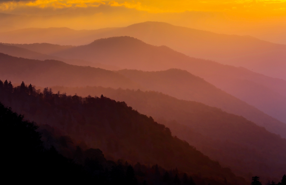 Smoky Mountains covered in fog during a yellow and purple sunrise