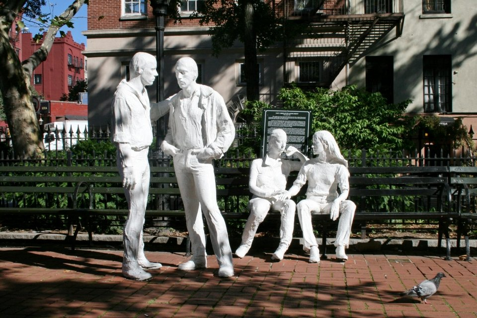 White statue memorial at Stonewall National Monument