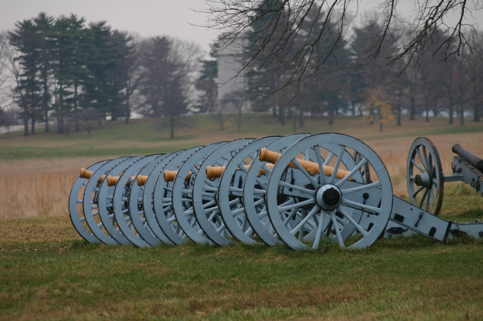 Canons lined up at Valley Forge National Historical Park