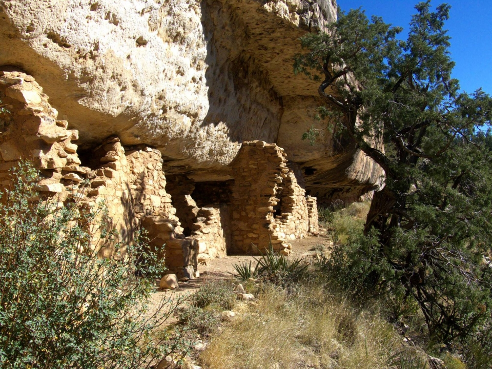 A view of trails near the ruins at Walnut Canyon National Monument by National Park Service