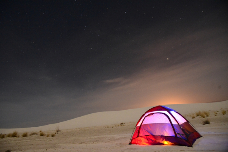 Pitched tent at the white sand dunes