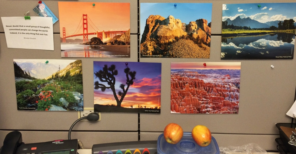 Images of national parks posted in an office cubicle