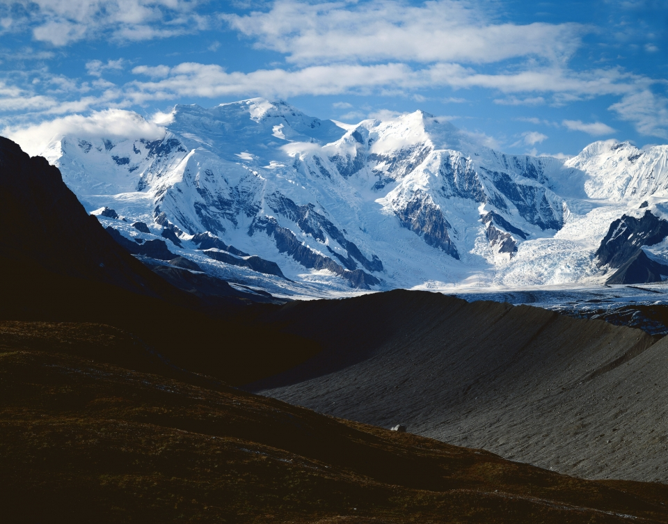 View of snowy mountains at one of the largest national parks, Wrangell-St. Elias National Park & Preserve
