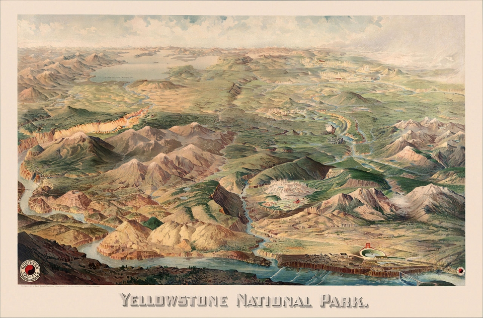 An historic map of Yellowstone National Park, dated 1904.