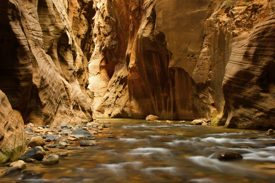 River in slot canyon at Zion National Park