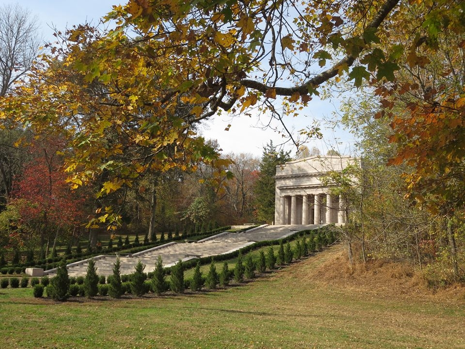 Fall colors adorn the tress surrounding the Memorial Building at Abraham Lincoln Birthplace National Historical Park