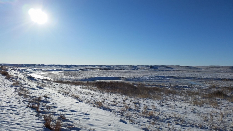 Steam rising above the Niobrara River at Agate Fossil Beds National Monument