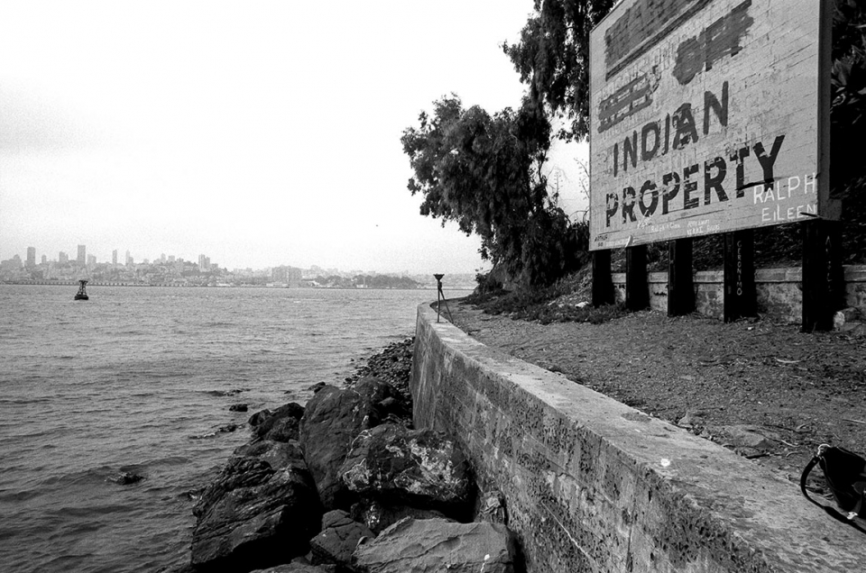 "Image of sign on Alcatraz Island that say ""Indian Property"""
