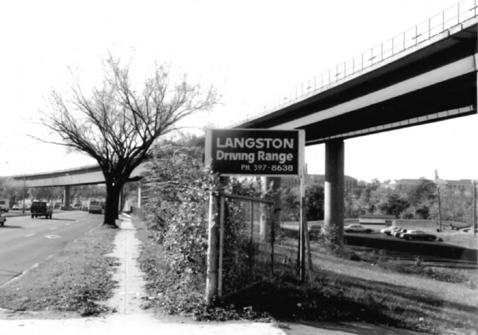 Old black and white image of the Langston Driving Range at Anacostia Park in Washington, DC
