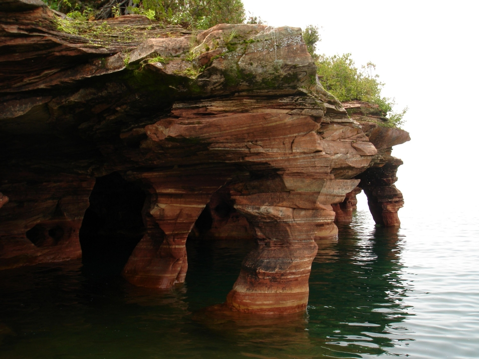 The sandstone seacaves on the shore of Devils Island at Apostle Islands National Lakeshore