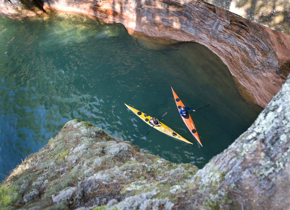 Ariel view of two kayakers along the shore in Lake Superior at Apostle Islands National Lakeshore
