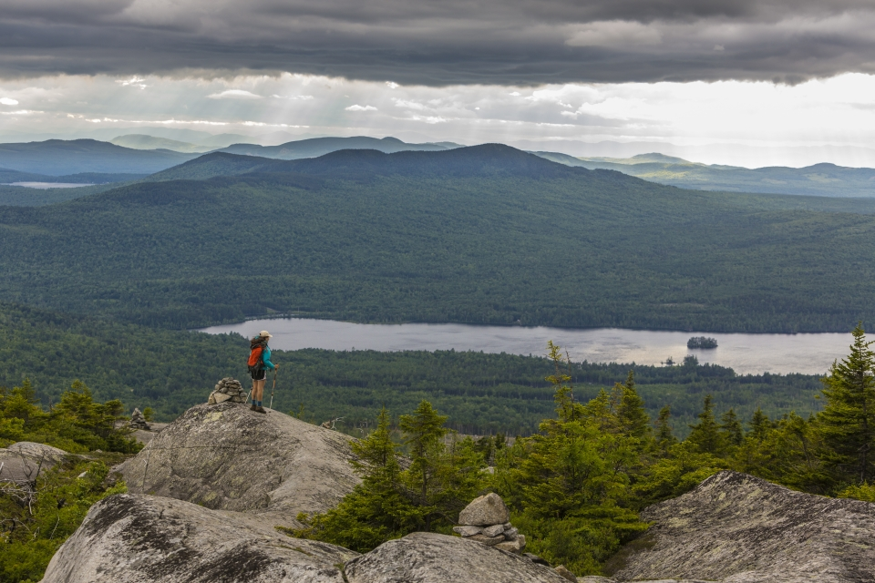 A woman stands on the edge of a rocky plateau, looking out at a tree-covered landscape far below