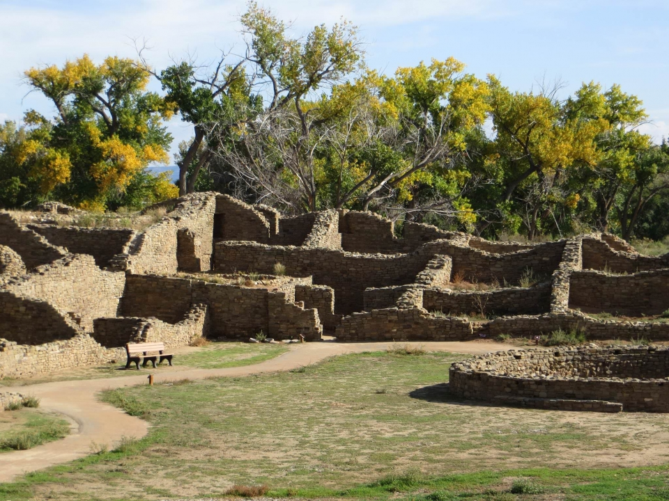 The ruins of former buildings at Aztec Ruins National Monument