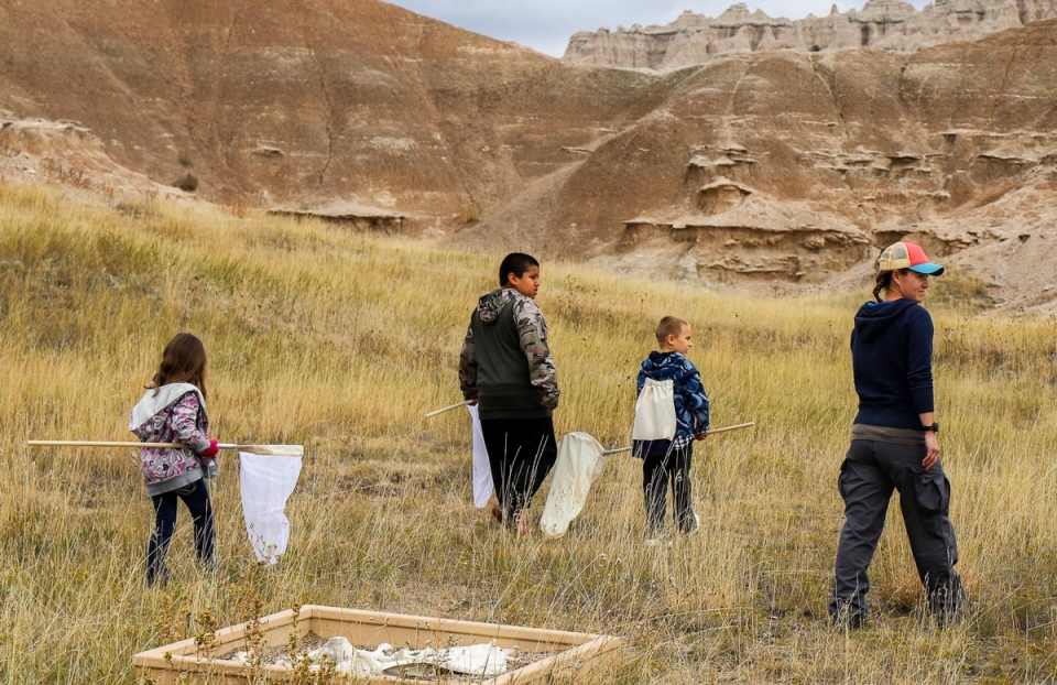 Three students in the prairie grass of Badlands National Park carrying big bug nets on a field trip at this National Park Service unit in South Dakota