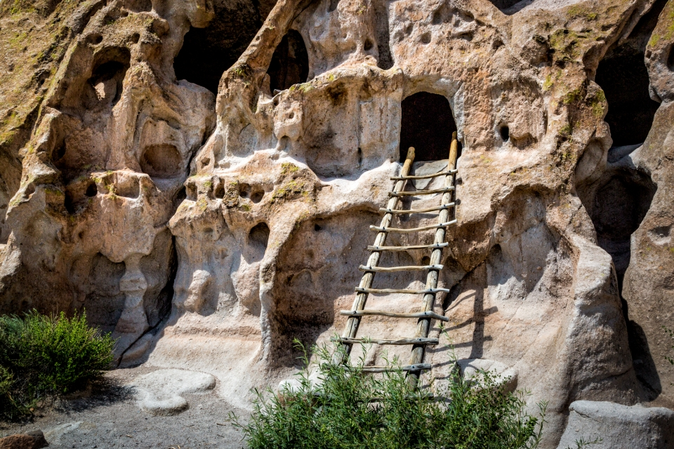 A kiva ladder rests against the canyon wall, leading up to a storage cache carved into the cliff at Bandelier National Monument