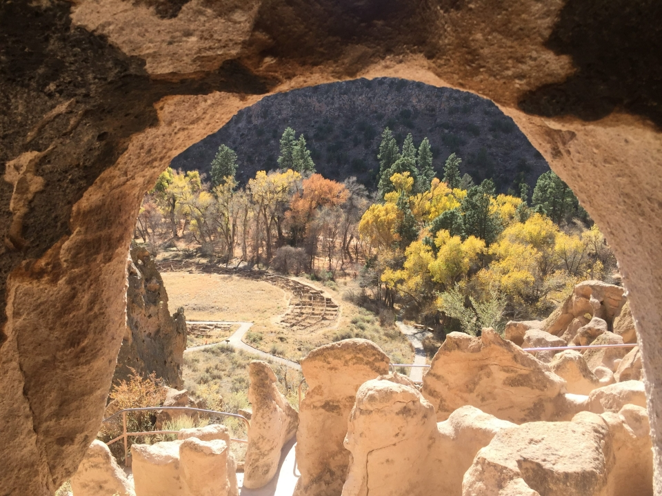 View through rocks at Bandelier National Monument