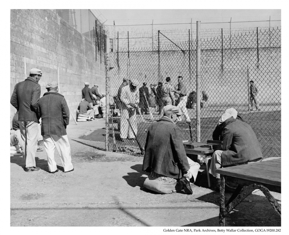 Baseball game at Alcatraz (Golden Gate National Recreational Area.)