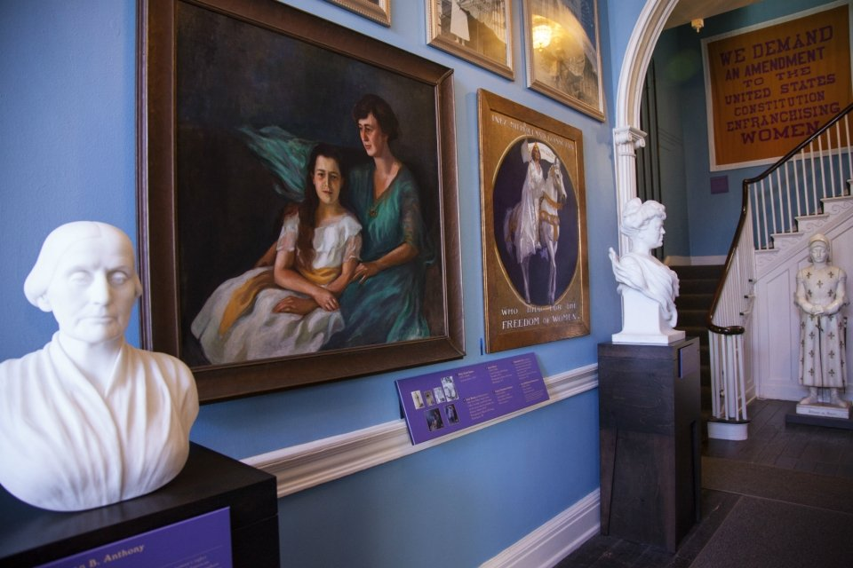 Bust and paintings of suffragists in Belmont-Paul Women's Equality National Monument