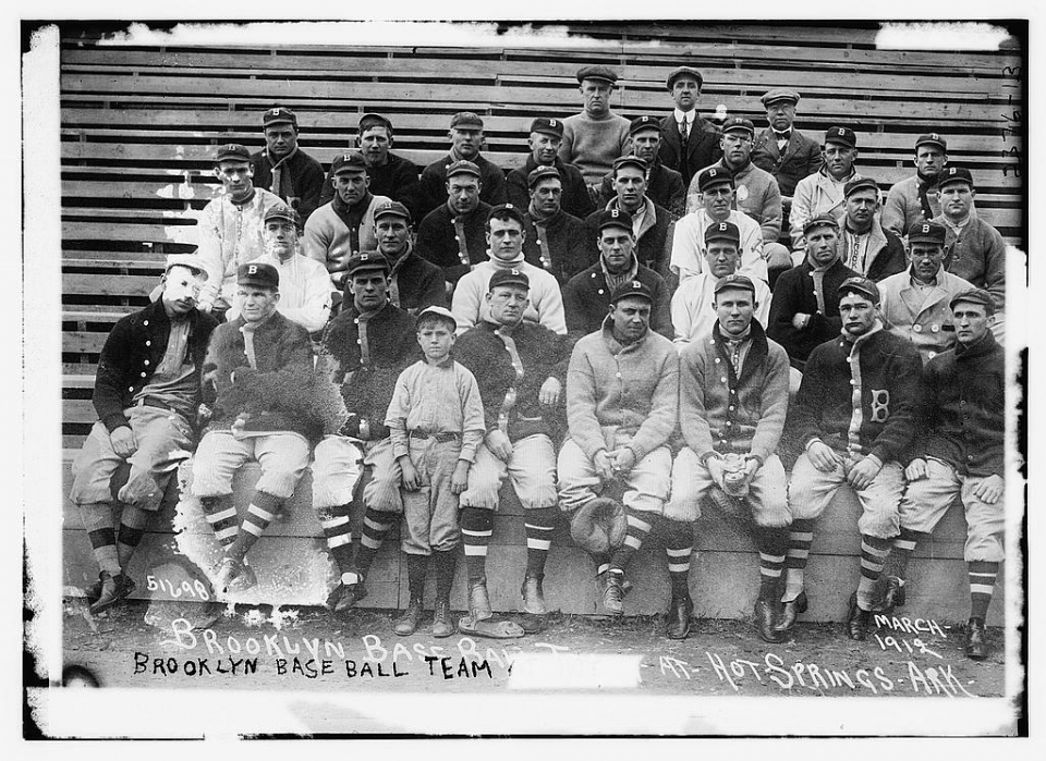 Brooklyn Dodgers spring training team photo, Hot Springs, AR, 1912.
