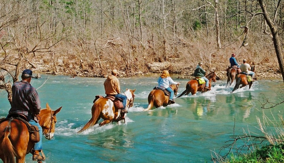 Horseback riders enjoy their annual spring ride in the Ponca wilderness of Buffalo National River