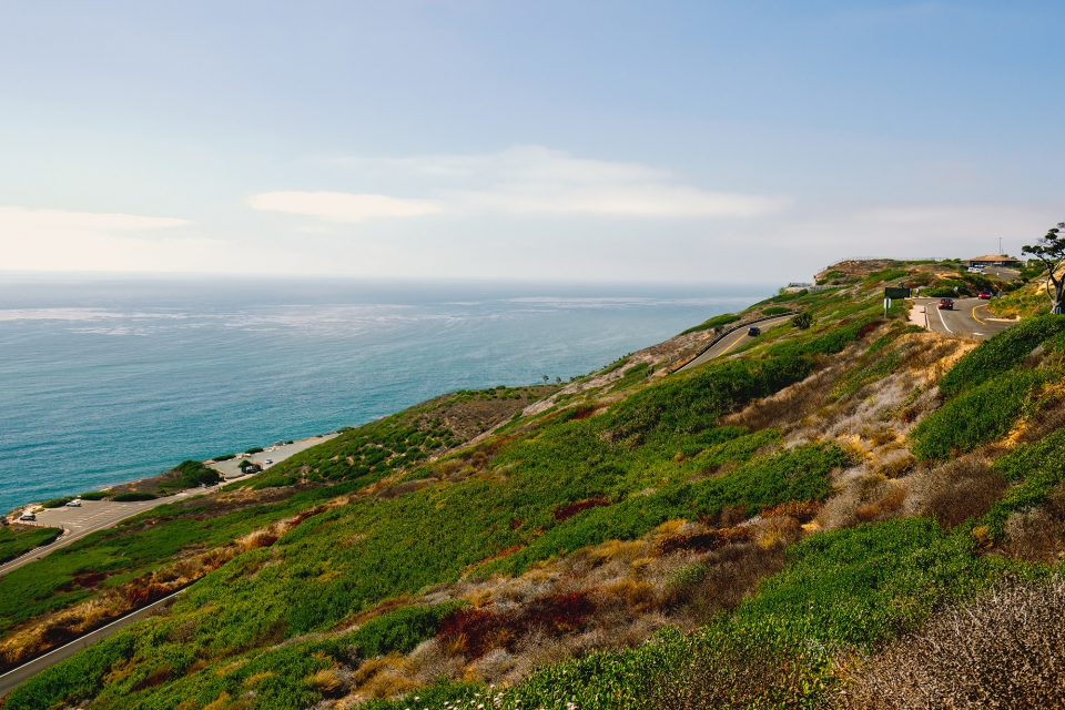 A sloping green landscape stretches out into a blue sea. A paved road weaves and wanders down the coastline