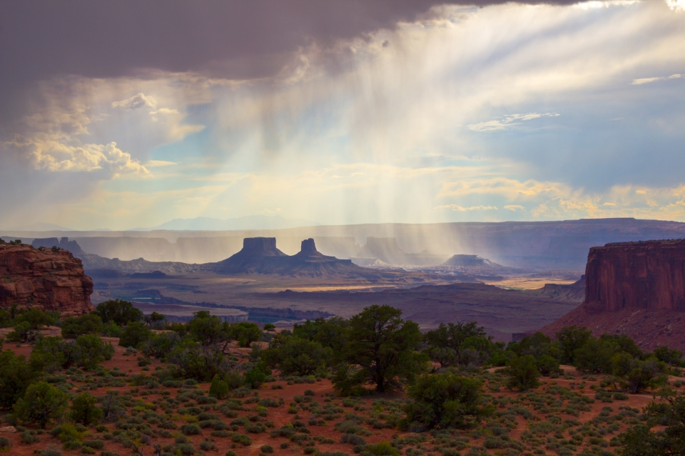 Distance rain-storm over the mesas of Canyonlands National Park